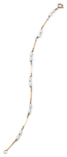 Sale 9115 - Lot 318 - A 9CT GOLD PEARL BRACELET; bar links to pairs of cultured keshi pearls, length 19cm, wt. 2.33g.
