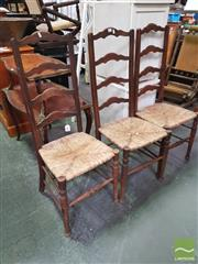 Sale 8424 - Lot 1086 - Set of 3 Oak Ladder Back Chairs with Rush Seats