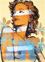 Sale 8696A - Lot 5093 - David Bromley (1960 - ) - Hilary with Flowers 29.5 x 20.5cm (frame: 40 x 31cm)