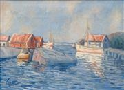 Sale 8631 - Lot 2047 - Herbert Jacob Gute (1908 - 1977) - Moored Boat, Tranquil Harbour 45 x 60cm