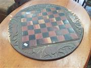 Sale 8676 - Lot 1168 - African Carved Games Board incl. Chess & Backgammon