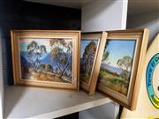 Sale 8695 - Lot 2077 - 3 Works: John Emmett Country Scenes and another one by H Emmett, 26 x 31cm (frame sizes), each signed lower