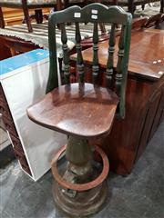 Sale 8723 - Lot 1064 - Unusual Painted Timber Bar Stool, with spindle back, turned pedestal & copper foot rest