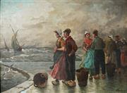 Sale 8947 - Lot 562 - Dutch School (C20th) - Waiting for the Return of the Fishing Fleet, 1930 57 x 78 cm (frame: 80 x 100 x 9 cm)