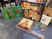 Sale 8981 - Lot 2059 - Box of Assorted Paintings and Decorative Prints incl. Bob Tindall, J Roy Baz, and Pezzano
