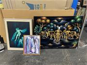 Sale 9004 - Lot 2095 - Group of Assorted Artworks incl: Symbolist Style Painting of Women, Abstract Work on Paper and Elephants and Waterfall Scene,