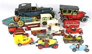 Sale 8330T - Lot 75 - Assorted Model Cars and Reproduction Tinplate Cars. Including early Yesteryear busses and trams.
