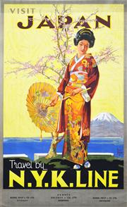 Sale 8330A - Lot 31 - Walter Jardine (1884 - 1970) - 'VISIT JAPAN: Travel N.Y.K Line', Burns, Philp & Co. Ltd 101 x 63cm