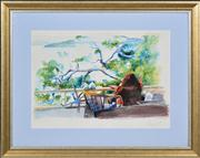 Sale 8374 - Lot 515 - Garry Shead (1942 - ) - Looking at Lion Island in Pittwater 29 x 40.5cm