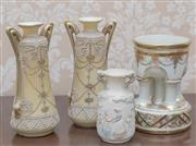 Sale 8375A - Lot 14 - A pair of Noritake slender vases with ivory ground together with a small four column comport. Height of vases 18 cm, and a Lladro tw...