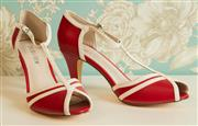 Sale 8448A - Lot 2 - 1940s vintage style red & white leather pinup t-strap heels Condition: as new Size: 8  Heel height: 9cm