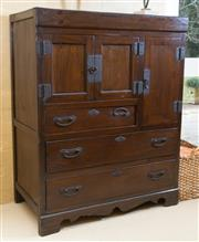 Sale 8550H - Lot 76 - A Korean tanzu chest with three doors above three drawers on a bracket base, H 115 x W 91 D 50cm