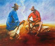 Sale 8607A - Lot 5026 - Hugh Sawrey (1919 - 1999) - Kidman Cattle Men - Yarning by the Fire, Monkira Station - Western Queensland 45 x 54cm