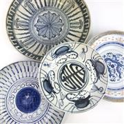 Sale 8699A - Lot 775 - Assortment of Chinese Blue and White Plates (4), diameter of largest 25cm