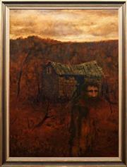 Sale 8771 - Lot 2029 - Neville Pilven - Lone Man and Hut 120 x 89cm