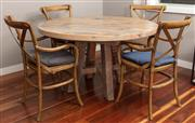 Sale 8904H - Lot 3 - A circular rustic plank top table on cross support base. Height 77cm x Diameter 130cm