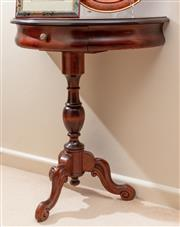 Sale 8926K - Lot 87 - A mahogany stained demi lune hall table, fitted with a drawer, H 73 x W 66cm