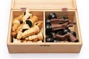 Sale 9052 - Lot 363 - A Complete Set of Timber Hand Carved Chess Pieces in Box