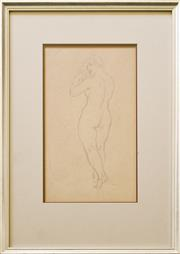 Sale 9080J - Lot 90 - Norman Lindsay - Nude 32x18cm