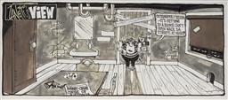 Sale 9113 - Lot 2087 - Paul Zanetti (1964 - ) Zanettis View: Sydney - Crime Centre of Australia, ink on card 19.5 x 45 cm (sheet) .
