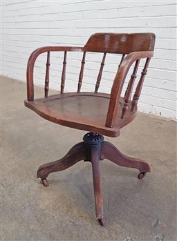Sale 9157 - Lot 1088 - Oak captains chair with spindle gallery (h:78 x w:60 x d:58cm)