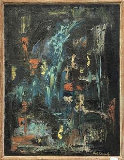 Sale 9152 - Lot 2012 - Artist Unknown waterfall, 1964 oil on hessian, frameL 54 x 41 cm, signed lower right -