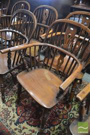 Sale 8335 - Lot 1071 - Matched Set of Six 19th Century Elm and Fruitwood Windsor Armchairs, with pierced splats and crinoline stretchers
