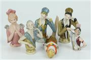Sale 8422 - Lot 86 - Early Porcelain Half Dolls with Other Figurines (6)