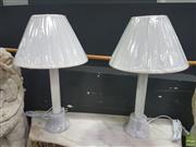 Sale 8620 - Lot 1003 - Pair of Italian Carrara Marble Base Table Lamps (2100)