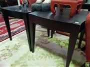 Sale 8629 - Lot 1095 - Pair of Black Shaped Top Occasional Tables