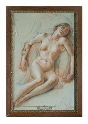 Sale 8651A - Lot 9 - La Lyre - Nude Study 57 x 37cm