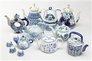 Sale 8677 - Lot 58 - Blue And White Teapot Collection Incl Chinese And Russian Examples