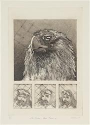 Sale 8865 - Lot 2047 - Trevor Weekes (1951 -) - Self Portrait and Eagle as Aviator 35 x 25cm