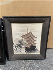 Sale 9045 - Lot 2059 - Silk embroidery of a Japanese temple, 53 x 46cm