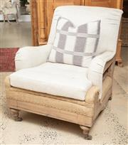 Sale 9060H - Lot 92 - A Hessian and calico upholstered armchair in the deconstructed style. Height 90 x 68 x 93cm