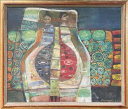 Sale 9103 - Lot 2002 - Bramasto Two Women in Abstract Landscape, 1987oil on canvas, 54 x 63cm, signed and dated lower right -