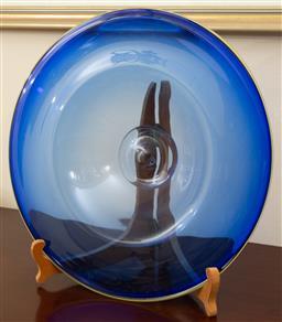 Sale 9155H - Lot 58 - A blue art glass centrebowl, signed Eileen Jordan 1998. Diameter 41.5cm