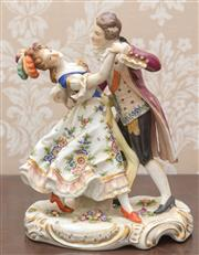 Sale 8375A - Lot 15 - A Capodimonte figural group of a dancing couple, H 23cm