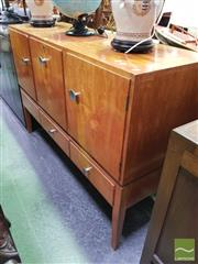 Sale 8447 - Lot 1045 - 1950s Inlaid Sideboard Cocktail Cabinet, Label to Back (key & knob in office)