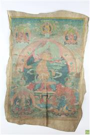 Sale 8560 - Lot 28 - Bodhisattva Themed Artwork On Animal Hide