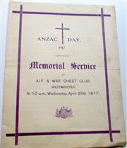 Sale 8639 - Lot 83 - Souvenir of Memorial Service of Anzac Day 1917 at the AIF and War Chest Club Westminster, 3 page foldout.