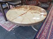 Sale 8676 - Lot 1176 - Round Marble Top Coffee Table on Brass Base