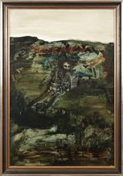 Sale 8776 - Lot 2040 - Neville Pilven - Lone Man and Landscape 90 x 60cm
