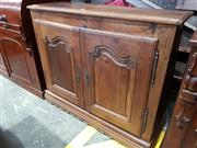 Sale 8774 - Lot 1091 - Antique French Oak or Chestnut Cabinet, having two shaped panel doors, with later top & base (key in office)