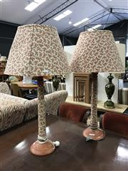 Sale 8787 - Lot 1018 - Pair of Fabric Clad Table Lamps with Floral Shades
