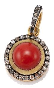 Sale 9054 - Lot 369 - A SILVER GILT CORAL AND DIAMOND PENDANT; 12.5mm round cabochon coral to surround and bale set with rose cut diamonds in oxidised sil...