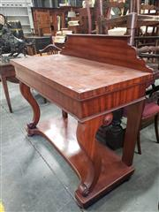 Sale 9031 - Lot 1069 - Good 19th Century Cedar Servery Table, possibly by John Hill junior of Sydney (active 1830-1867), with a low shaped back, above a lo...