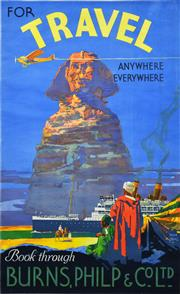Sale 8330A - Lot 32 - Walter Jardine (1884 - 1970) - 'FOR TRAVEL: Anywhere, Everywhere', Burns, Philp & Co. Ltd 101 x 63cm