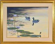 Sale 8408 - Lot 571 - Richard Weatherly (1947 - ) - Yellow Waters Green Pigmy Geese, Kakadu National Park, 1991 56 x 76cm