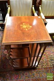 Sale 8460 - Lot 1058 - Late Victorian Walnut & Marquetry Revolving Bookcase, of two tiers, with floral panel & reeded supports